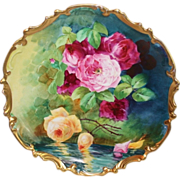 "WOW!! OUTSTANDING LARGE Coronet LIMOGES French Tea Roses Antique Plaque ~ Listed Artist ""DUVAL"" ~ Original Completely Hand Painted ~ RARE Colors!!"