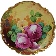 "BEAUTIFUL Coronet LIMOGES French Tea Roses ANTIQUE PLAQUE ~ Listed Artist ""DUVAL"" ~ Original Completely Hand Painted"