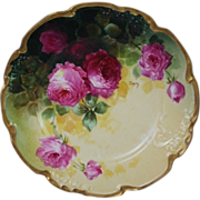 "WOW!! OUTSTANDING JPL LIMOGES French Tea Roses ANTIQUE 8 3/4""  Plate ~ Listed Artist ""Segur"" ~ Original Completely Hand Painted ~ BEAUTIFUL!!"