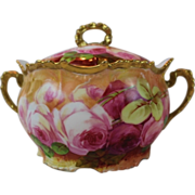 """WOW!! RARE OUTSTANDING B&H LIMOGES French Tea Roses ANTIQUE Biscuit Jar ~ Listed Artist """"Sena"""" ~ Completely Hand Painted Original ~ BEAUTIFUL!!"""