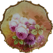 "BEAUTIFUL B&H LIMOGES French Tea Roses ANTIQUE 7 5/8"" Plate ~ Listed Artist ""Sena"" ~ Completely Hand Painted Original ~ BEAUTIFUL!!"