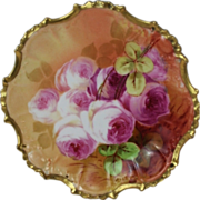 "BEAUTIFUL B&H LIMOGES French Tea Roses ANTIQUE 7 1/8"" Plate ~ Listed Artist ""Sena"" ~ Completely Hand Painted Original ~ BEAUTIFUL!!"