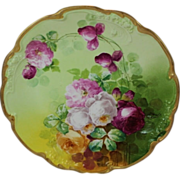 "WOW!! RARE & TRULY MAGNIFICENT HUGE Antique Limoges 14"" Charger Wall Plaque ~ Breathtaking Hand Painted Roses ~ Museum Quality ~ Masterpiece Painting ~ Signed by the Artist ""Duval"" ~ Superb Artistry Jean Pouyat JPL Circa 1890 – 1932."