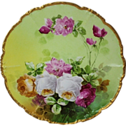 "Truly Magnificent Antique Limoges France Fancy 9 1/2"" Plate~ Breathtaking Hand Painted Roses ~ Museum Quality ~ Masterpiece Painting ~ Signed by the Artist ""Duval"" ~ Superb Artistry Jean Pouyat JPL Circa 1890 – 1932."