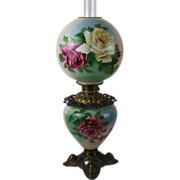 BEAUTIFUL Gone with the Wind Victorian Kerosene Parlor Banquet Lamp ~Masterpiece Breathtaking BEAUTY WITH HAND PAINTED ROSES~ Outstanding Fancy Ornate Font Spill Ring and Base~ Original Condition ~Original Parts