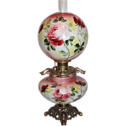 "HUGE JUMBO Gone with the Wind Banquet Oil Lamp ~RARE 12"" SHADE~Masterpiece Breathtaking BEAUTY WITH HAND PAINTED ROSES~ Outstanding Fancy Ornate Handled Font Spill Ring and Base~ Original Condition ~Original Parts ~ Collector Piece ~ Master Artist"