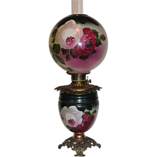 Gone with the Wind Kerosene Banquet Lamp ~Masterpiece Breathtaking BEAUTY WITH HAND PAINTED ROSES~ Outstanding Fancy Ornate Font Spill Ring and Base~ Original Condition ~Original Parts ~ Collector Piece ~ Master Artistry