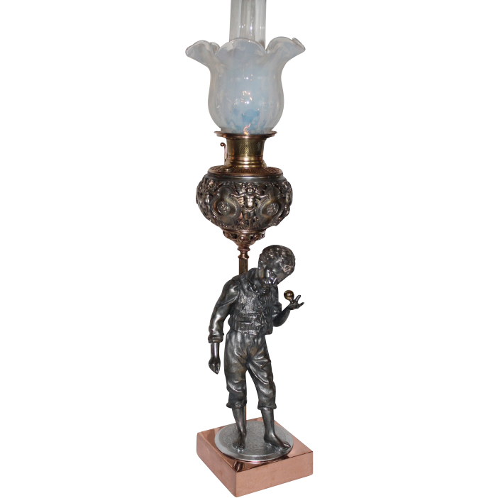 "RARE Bradley Hubbard Figural ""Boy with a Top"" Banquet Lamp ~ RARE ORIGINAL Opalescent SHADE~ Outstanding Fancy Ornate Font and Base~ 1890's ~ Original Oil Lamp Condition ~Original Parts"