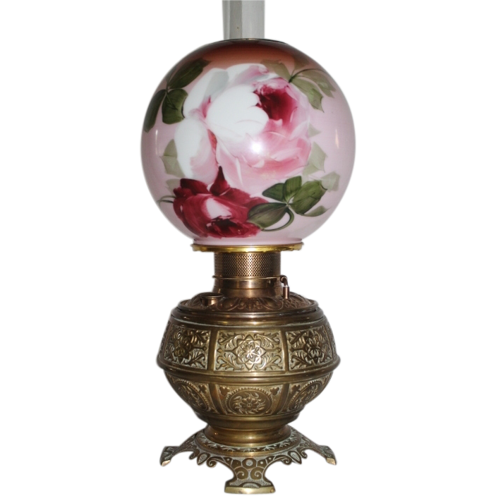 RARE  Meridian Banquet Oil Lamp ~Hand Painted Shade with Roses~ RAREl Mantel or Bracket Shelf Size  ~ Original Condition ~Original Parts