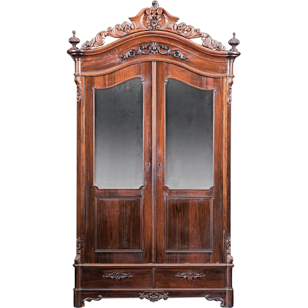 American 1850's Rococo Rosewood Armoire~Outstanding Carvings ~ Magnificent  Piece of Fine Antique Furniture ~ Attributed to Mallard - American 1850's Rococo Rosewood Armoire~Outstanding Carvings