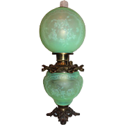 "EXTREMELY RARE Green Satin (Uranium Glass) Pittsburgh ""Ruffles and Roses"" Gone with the Wind Kerosene Banquet Lamp ~ ~Fancy Font Ring~ 1900- 1915 ~ Museum Quality"