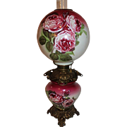WOW!! BEAUTIFUL Gone with the Wind Kerosene Banquet Lamp ~Masterpiece Breathtaking BEAUTY WITH HAND PAINTED ROSES~ Outstanding Fancy Ornate Font Spill Ring and Base~ Original Condition ~Original Parts