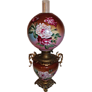 WOW!! BEAUTIFUL Gone with the Wind Kerosene Banquet Lamp ~Masterpiece Breathtaking BEAUTY WITH HAND PAINTED COTTAGE ROSES~ Outstanding Fancy Ornate Handleed Font Spill Ring and Base~ Original Condition ~Original Parts