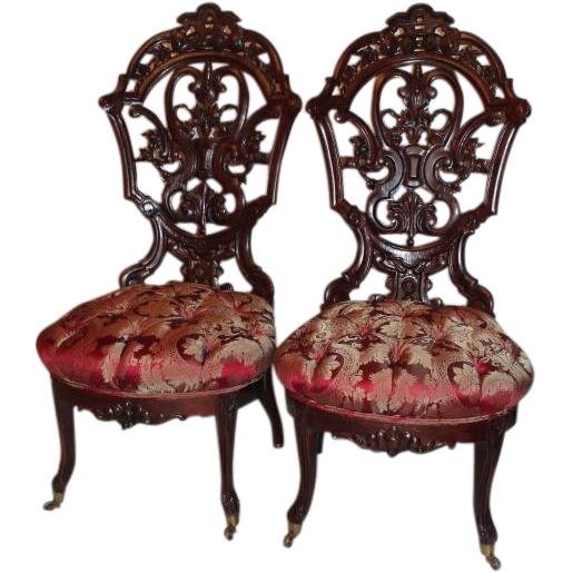 Outstanding PAIR of Meeks Rosewood Rococo Victorian Parlor Chairs ~ : B and  C Victorian Antiques | Ruby Lane - Outstanding PAIR Of Meeks Rosewood Rococo Victorian Parlor Chairs