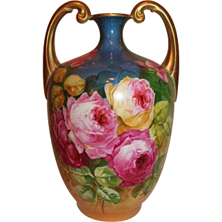 "The BEST of the BEST Vibrant Limoges Muscle Vase ~ Wonderful Hand Painted ROSES  ~Artist Signed""Leona"