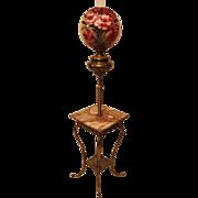 """Antique Brass Piano Floor Lamp ~HUGE Original 13"""" Shade ~ Original Oil Burning Condition"""