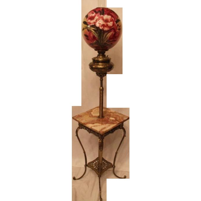 antique brass piano floor lamp huge original 13quot shade With antique brass oil floor lamp