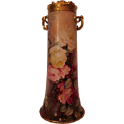 """WOW!! HUGE 15 1/2""""Wonderful William Guerin Limoges Hand Painted Twisted Handle Vase ~ Breathtaking HAND PAINTED ROSES ~ Full Stunning Still Life Paintings on Porcelain All Around the Vase~ Magnificent Piece of Fine Art ~ Collector's DREAM!!!"""