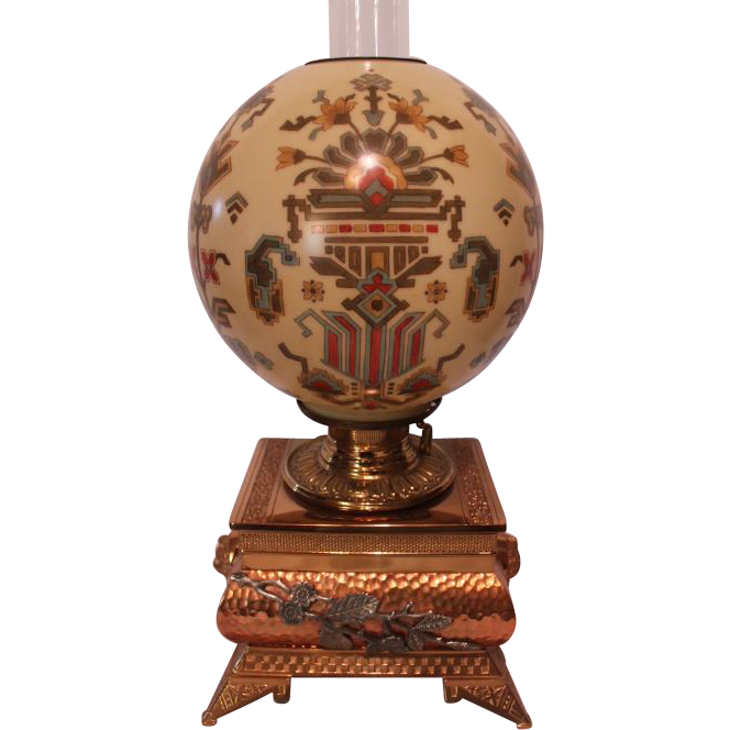 Museum Quality ~ RARE EXCEPTIONAL  B&H (Bradley Hubbard) Aesthetic Banquet Lamp ~RARE Aesthetic Geometric SHADE~ Electrified ~Original Parts ~ Collector Piece ~ Master Artistry