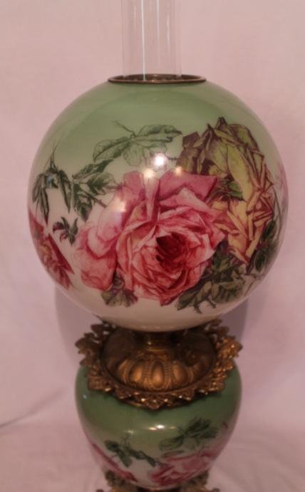 Beautiful C 1910 Gone With The Wind Kerosene Banquet Lamp