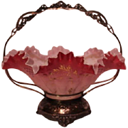 Wonderful Antique Rococo 1880'S Victorian Brides Bowl & Basket ~ Outstanding Hand Blown & Enameled Bowl In Original Quadruple Plate Silver Plate Frame ~ Collectors Dream Piece