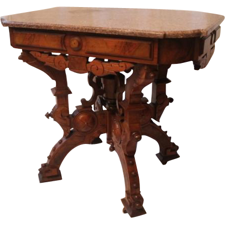 American Neo-Grec Renaissance Revival Carved and Burled Walnut Side Table, 1870's, probably made by Berkey & Gay