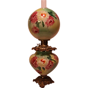 "LARGE Gone with the Wind Oil Lamp ~RARE 11"" SHADE~Masterpiece Breathtaking BEAUTY WITH HAND PAINTED MUMS~ Outstanding Fancy Ornate Handled Font Spill Ring and Base~ Original Condition ~Original Parts"