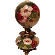 """LARGE Gone with the Wind Oil Lamp ~RARE 11"""" SHADE~Masterpiece Breathtaking BEAUTY WITH HAND PAINTED Hibiscus ~ Outstanding Fancy Ornate Handled Font Spill Ring and Base~ Original Condition ~Original Parts"""