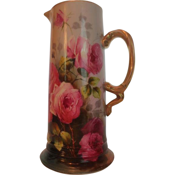 "Magnificent Antique Limoges France Large Tankard Pitcher~ Breathtaking Hand Painted Roses ~ Masterpiece Painting ~ Signed by the Artist ""Duclair"" ~ Superb Artistry Jean Pouyat JPL Circa 1890 – 1932."