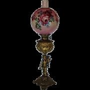 Outstanding  B&H Figural Cherub Banquet Kerosene Lamp ~ Original Hand Painted Shade ~ Outstanding Fancy Ornate Font and Base