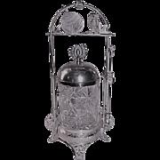 RARE Derby Aesthetic Figural Owl  Victorian Pickle Castor~ Circa 1890's~American Brilliant CUT GLASS JAR ~Quadruple Silver Plate Frame ~Original Condition