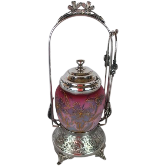 VERY RARE Pelton Bros & Co Aesthetic Victorian Pickle Castor~ Circa 1880's~Outstanding Hand Blown Triple CASED and Hand Enameled GLASS JAR ~Quadruple Silver Plate Frame ~Original Condition