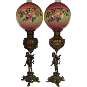 PAIR of  Outstanding Figural Cherub Banquet Kerosene Lamps ~ Electrified ~ Original Hand Painted Shades ~ Converted to Electricity