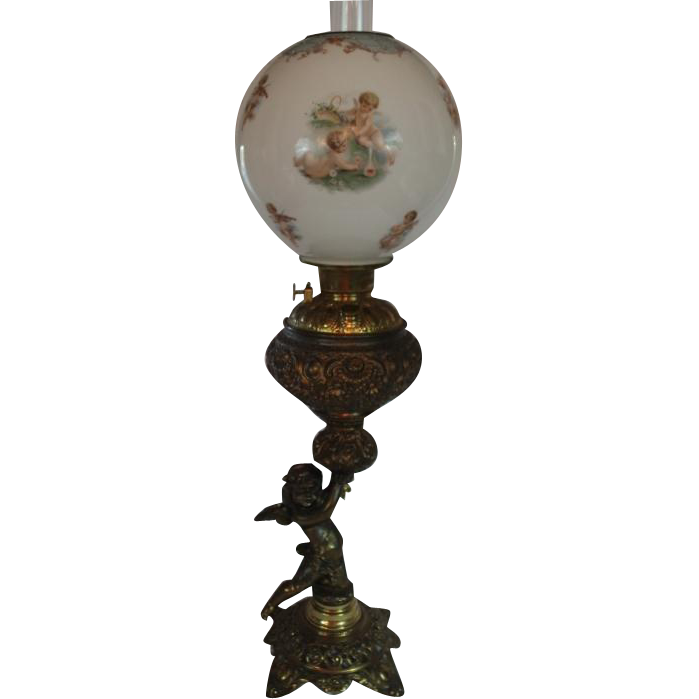 Large Figural Cherub Banquet Oil Lamp ~ Original Hand Painted Shade with Cherubs ~ Converted to Electricity.