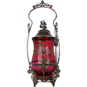 Aurora Aesthetic Victorian Pickle Castor~ Circa 1880's~Wonderful Hand Enameled Cranberry Jar ~Quadruple Silver Plate Frame ~Original Condition