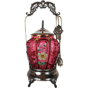 Colonial Silver Co. Aesthetic Victorian Pickle Castor~ Circa 1880's~Wonderful Blown Out Pickle Shaped Hand Enameled Cranberry Jar ~Quadruple Silver Plate Frame ~Original Condition