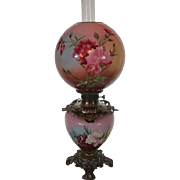 Wonderful Gone with the Wind Oil Lamp ~Masterpiece Breathtaking BEAUTY WITH HAND PAINTED Carnations~ Outstanding Fancy Ornate Handled Font Spill Ring and Base~ Original Condition ~Original Parts