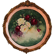"Breathtaking HUGE 20 1/2"" Porcelain Plaque with HAND PAINTED ROSES ~OUTSTANDING HAND CARVED Antique Carved WOOD FRENCH Frame ~ Museum Quality Masterpiece Limoges Roses Stunning Still Life Painting on Porcelain ~  Signed by the Artist ""F.L. Sortain"""