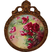"Breathtaking Large 16"" JPL Limoges Porcelain Plaque with HAND PAINTED ROSES ~OUTSTANDING HAND CARVED Vintage Carved WOOD Frame ~ Museum Quality Masterpiece Limoges Roses Stunning Still Life Painting on Porcelain ~ Signed by the Artist ""L.M.U"""
