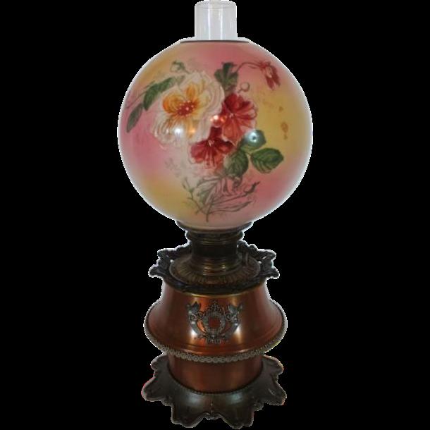 B&H (Bradley Hubbard) Banquet Lamp with Original SHADE~ Original Oil Burning Condition ~Original Parts