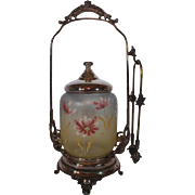 Homon Mfg Co. Antique Victorian Pickle Castor ~Unusual tri-color jar with hand enameled decorations~Quadruple Plated Silver ~Original Condition