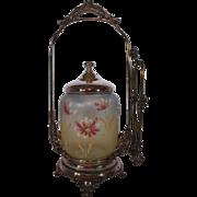 Homon Mfg Co. Antique Victorian Pickle Castor ~Unusual tri-color jar with hand enameled decorations~Quadruple Plated Silver ~Original Condition