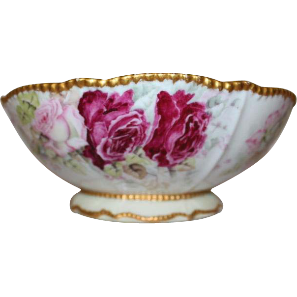 Wonderful  Bawo & Dotter (Elite Works) Limoges Serving Bowl~ THREE Separate Scenes of BREATHTAKING Handed Painted ROSES~1900 to 1918 ~Gorgeous Antique Limoges France Hand Painted Victorian Treasure Collector Piece ~Master Artistry