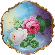 "OUTSTANDING Coronet LIMOGES French Tea Roses ANTIQUE PLAQUE ~ Listed Artist ""Bronssillon""~ Completely Hand Painted Original ~ Breathtaking ROSES ~ Museum Quality Masterpiece Still Life Painting Painting on Porcelain w Elegant Rococo Border"