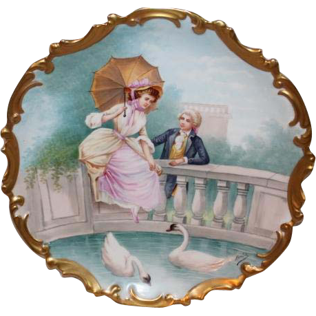 "OUTSTANDING Coronet 13 1/4"" LIMOGES Lazeyras. Rosenfeld & Lehman (L.R. & L.) Figural Scene ANTIQUE Wall PLAQUE ~ LISTED Artist Signed ""Muville"" ~ Completely Hand Painted Still Life ~ Ready to Hang on YOUR Wall!!"