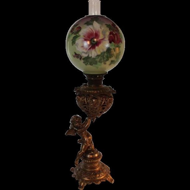 "RARE Figural Cherub 1889 ""The New Columbia"" Banquet Kerosene Oil Lamp ~ Original Floral Shade"