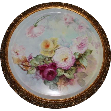 "Breathtaking HUGE 20 1/2"" Framed Antique T&V HAND PAINTED ROSES Porcelain Plaque ~OUTSTANDING  ANTIQUE Gilded Frame ~ Artist Signed ~ Masterpiece Limoges France Stunning Still Life Painting on Porcelain ~ T&V Factory Circa 1892 – 1907"