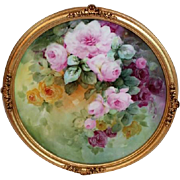 "Breathtaking LARGE 15"" Framed Antique T&V HAND PAINTED ROSES Porcelain Charger Plaque ~OUTSTANDING Gilded Frame~ Masterpiece Limoges France Stunning Still Life Painting on Porcelain ~ T&V Factory Circa 1892 – 1907"