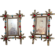 Extremely Rare PAIR of Antique Bronze Jeweled Photo Frames ~ Circa 1850's ~  Outstanding Quality ~ Original Condition