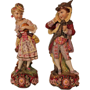 Extremely RARE PAIR of Antique Vion and Baury Hand Painted Porcelain Figures of Children in Whimsical Costumes ~ Green Anchor Mark Circa 1870's ~ Outstanding  HIGH Quality Porcelain
